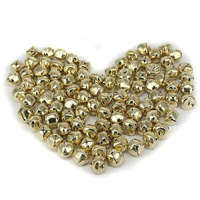 100 Gold JINGLE BELLS Christmas Bells 15mm Beads Charms Jewelry Findings