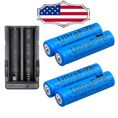 4pcs 18650 6000mah 3.7V Li-ion Rechargeable Battery +Charger For Head Torch Cell
