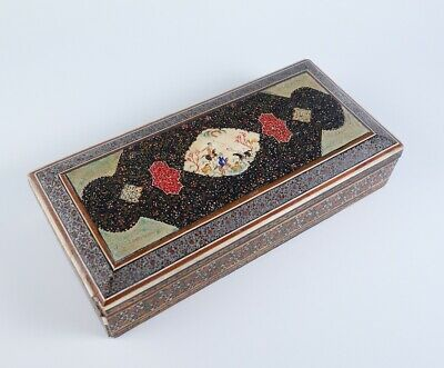 Vintage 1930s Hand Painted & Inlay Middle Eastern Wooden Box