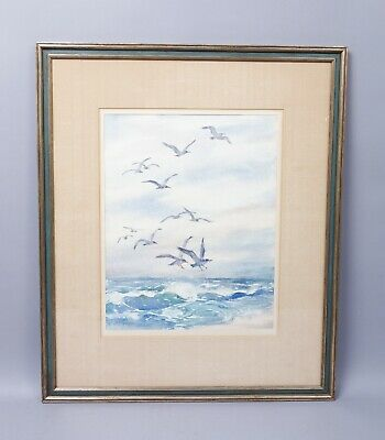 Signed Elizabeth B. Warren Rockport Cape Ann Seagulls Flying over Surf Painting