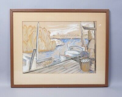 Framed New England Clam Boats by Dock in Marsh Painting Signed Sara M. Pinkus