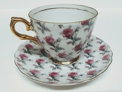 Vintage Tea Cup & Saucer Set by Original Napco China Hand Painted Rose Pattern