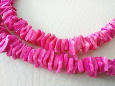 Bright PINK PUKA SHELL Chip Nugget Single Strand Collar Necklace Surfer Beach