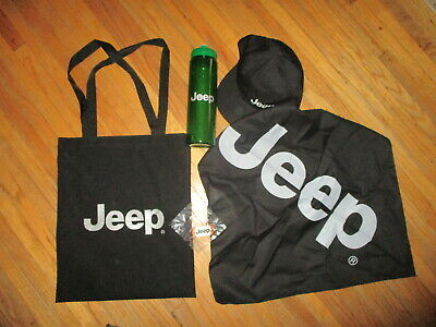 JEEP SWAG BAG Black Silver Logo HAT Bandana Water Bottle Keychain Factory Plant