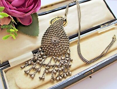 Rare Antique Middle Eastern Ethnic Tribal Silver Tone Pendant Necklace