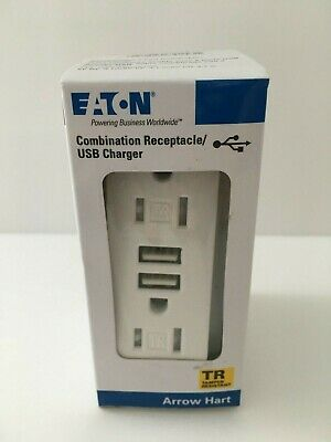 Eaton Outlet 2 USB Charger Duplex Receptacle Combination Electrical 15 Amp White