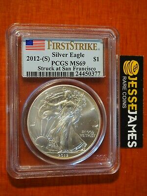 2012 (S) Silver Eagle Pcgs Ms69 Struck At San Francisco Flag First Strike Label