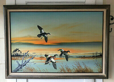 Vintage Original Sporting Art Duck Waterfowl Painting - Signed by DON MAYO