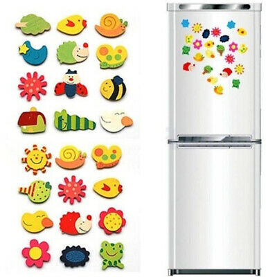 Cute Baby Toy Early Educational Stickers Fridge Magnet Wood Animal Cartoon