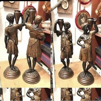 2 Antique BlackMoor French Cold Painted Bronze Arab Candlestick By Louis Hattot