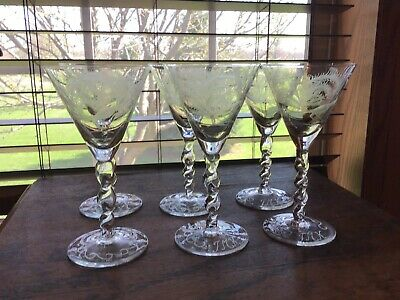 6 Elegant Vintage 3 Oz Etched Peacock Twisted Stem Cordial Sherry Glasses