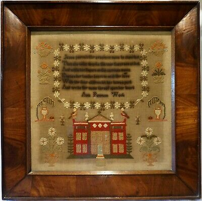 MID 19TH CENTURY RED COUNTRY HOUSE, MOTIF & VERSE SAMPLER BY ANN PAWSON - c.1850