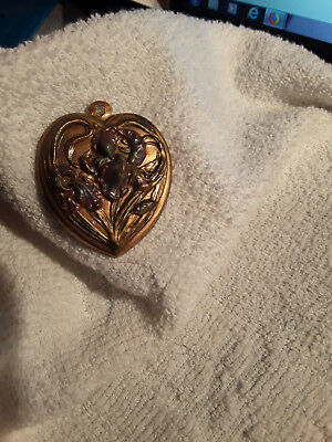 Antique Victorian Style Decorative Heart Enameled Flowers Pin