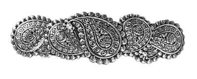 Paisley Pattern Artisan Made Cast Pewter Barrette Hair Clip by Oberon Design