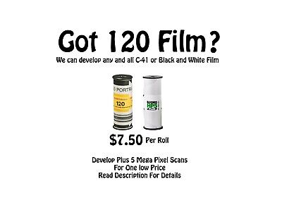 Bulk Film Developing of up to 20 Rolls C-41 / E6 / B&W 120 / 35mm / 110 / APS