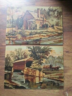 PAIR Vtg Estate Find Paint By Number PBN Paintings Rural Mill & Covered Bridge