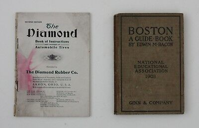 1903-04 LOT Diamond Tire Automobile Dealer Catalog Boston Touring Map Book Old