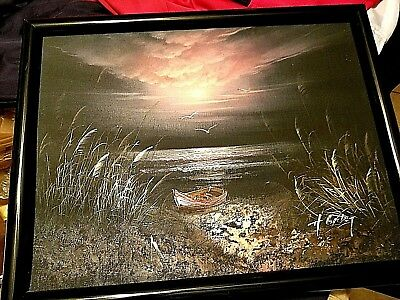 Beautiful Evening seascape oil painting by H. Gailey. 12x16