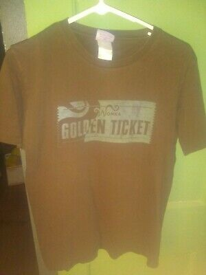 Charlie and the Chocolate Factory Willy Wonka Golden Ticket TShirt Brown Size L