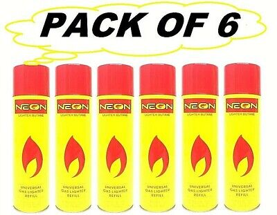 6 Pack Neon Lighter Butane Can -300ml- Daily Deals Universal Gas Lighter Refill