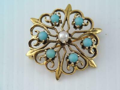 ANTIQUE VICTORIAN STYLE SOLID 14K GOLD BLUE TURQUOISE BALL PIN w PEARL ORNATE