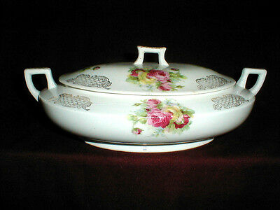 Homer Laughlin Kwaker Pink Yellow Roses Covered Vegetable Bowl w Lid 1929