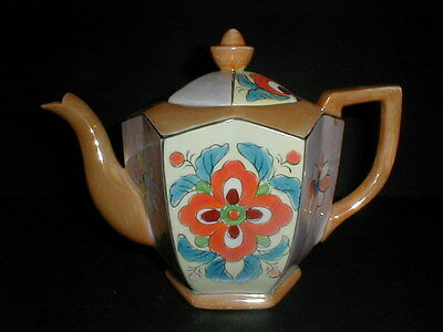 Japanese Peach Lusterware/Luster Hexagonal Teapot w Colorful Floral Design