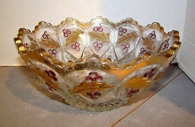 EAPG Northwood Gold Red Stain Decorated PANELLED HOLLY Master Berry Bowl 1907