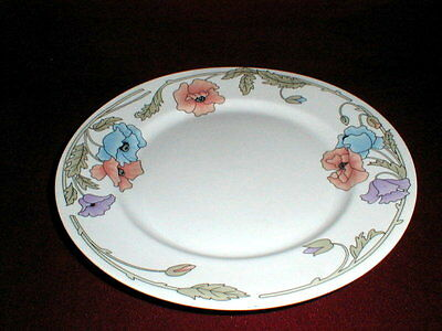 Royal Cuthbertson Amapola Blue Purple Pink Poppy AMBROSIA Dinner Plate