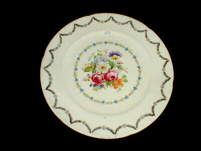 """2 Crooksville China Gold Filigree Floral Center 9"""" Luncheon Plates_Set of TWO"""