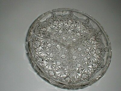 Luxhem Veropa French Crystal DAISY BUTTON 3 Part Divided Relish Appetizer Dish