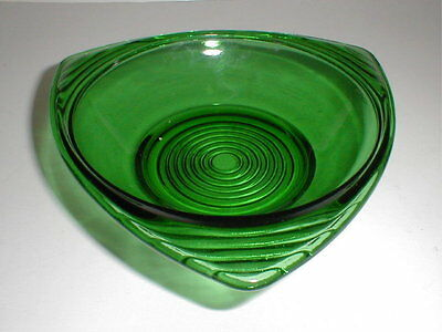 Anchor Hocking Forest Green Fire King 3 Corner Triangle Candy Dish (D43)