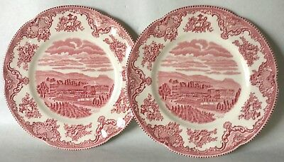 2 Johnson Bros Pink OLD BRITAIN CASTLES Salad Plates Set of Two (loc-46)