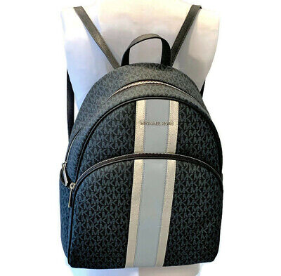 9a9ae0528a52 MICHAEL KORS Abbey Large Backpack ~ Admiral Navy Center Stripe PVC NWT