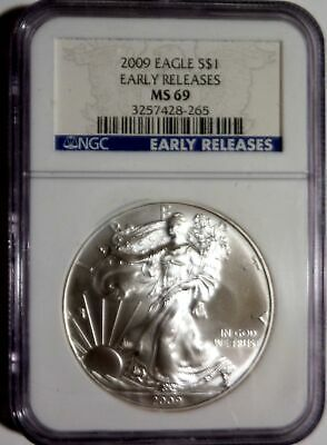 2009 american eagle $1 silver 1 oz .999 NGC MS 69 EARLY RELEASES GRADED SLABBED