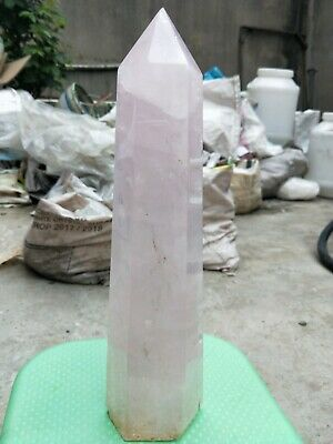 2589G Natural Pink Rose Quartz Crystal Obelisk Wand Point Massage Healing