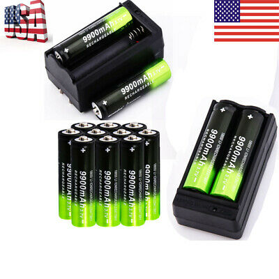 14pc 18650 3.7 9900mAh Rechargeable Li-ion Battery Batteries& Charger USA Stock.