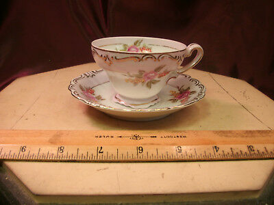 Atq MERIT CHINA-OCCUPIED JAPAN-handpainted floral pink/gold TEA CUP/Saucer-F/Shi