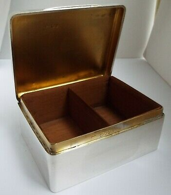 Superb Heavy English Antique 1899 Sterling Silver Cigarette Table Box Solid Lid
