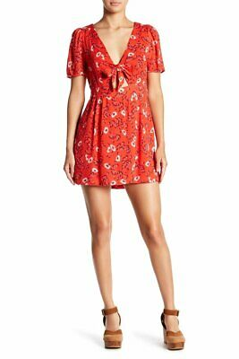 FREE PEOPLE $98 Red Floral Jinx Front-Tie Romper (Size 0) NWT