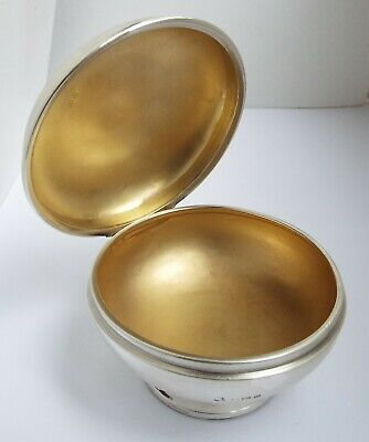 Nice English Antique Art Deco 1913 Solid Sterling Silver & Gilt Lined Tea Caddy