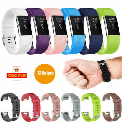 For Charge 2 Strap Replacement Watch Silicone Band Metal Buckle Wristband
