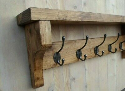 Rustic country cottage reclaimed wood chunky pine coat rack with shelf 5 hooks