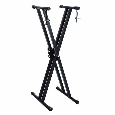Adjustable Height Folding X Type Black Double-Braced Music Piano Keyboard Stand
