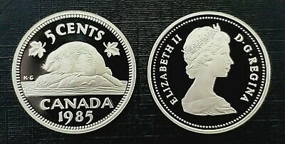 Canada 1985 Proof Gem UNC Five Cent Nickel!!