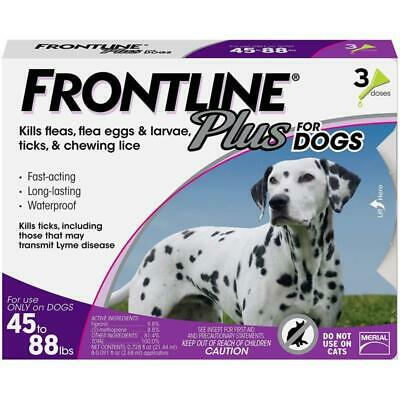 Frontline Plus for Dogs Large Dog(45 - 88 pounds)Flea and Tick Treatment,3 Doses