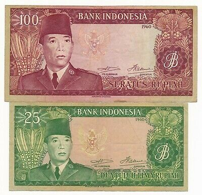 1960 Indonesia 50 & 100 Rupiah P. 85b & 86a Scarce Notes VF