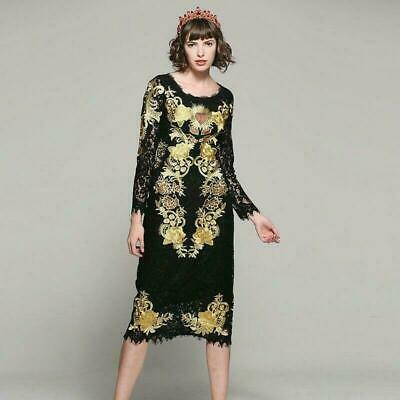 Womens Gold Embroidery Slim Black Lace Hollow Out Sexy Long Dresses Stylish Sz