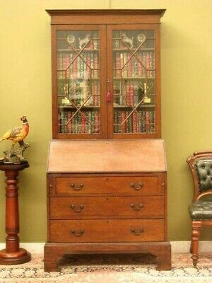 ANTIQUE OAK WRITING BUREAU with FITTED DESK, STORAGE + DISPLAY BOOKSHELVES c1900