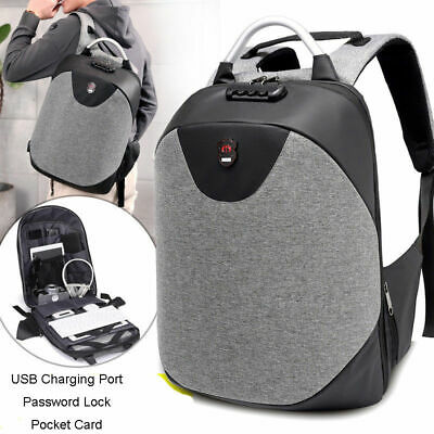16inch Laptop Backpack Anti Theft Mens Travel Bag with USB Charging Port + Lock